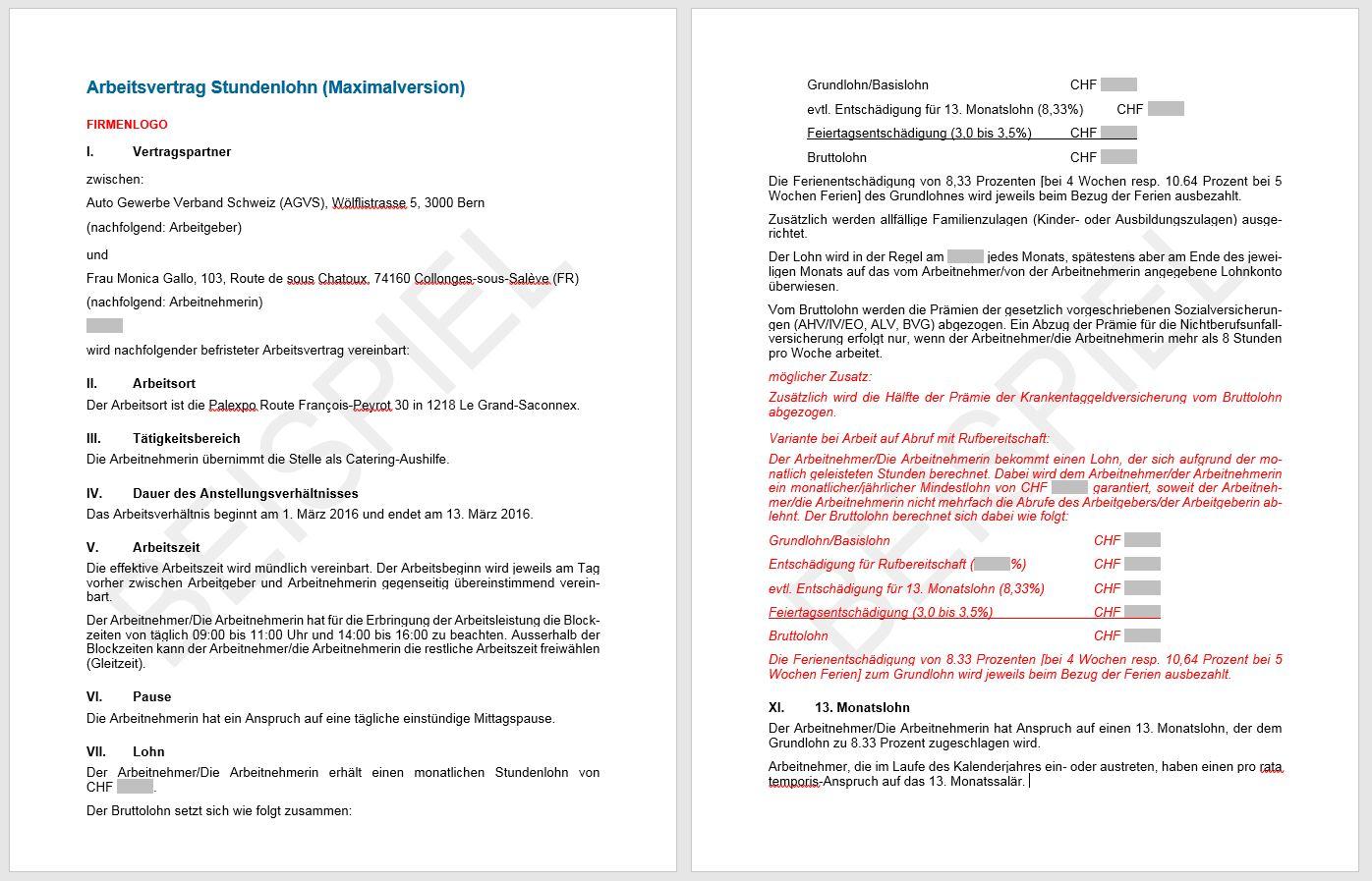Download Arbeitsvertrag Stundenlohn | AGVS | UPSA - Sektion Thurgau